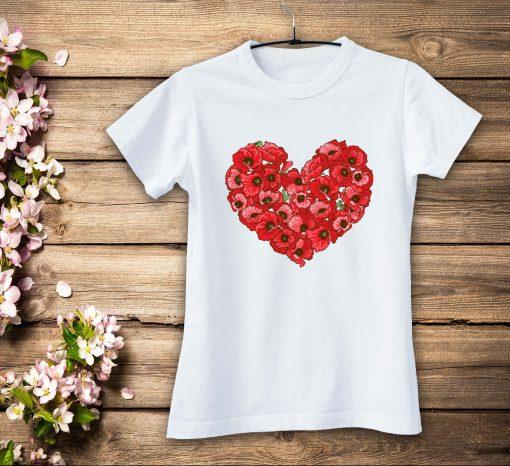 дамска тениска heart flowers