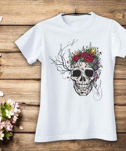 дамска тениска skull i flowers