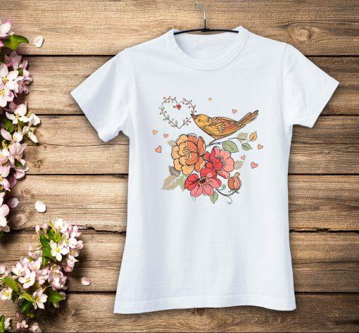 дамска тениски ptica cvetia