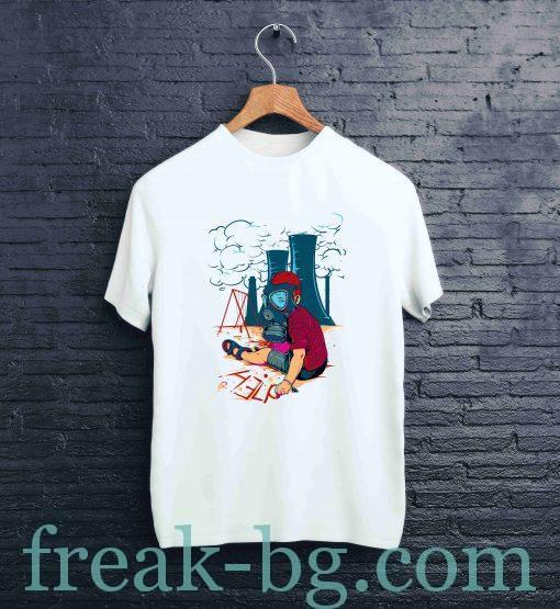 Мъжка памучна тениска с щампа help