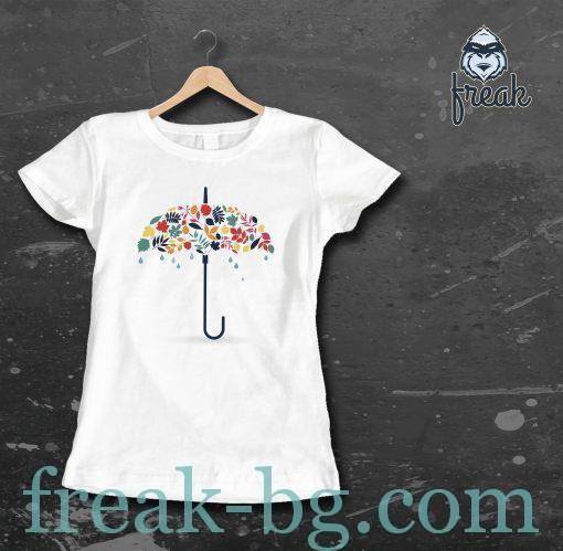 дамска тениска с печат umbrella