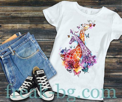 Дамска тениска с печат жирафчета