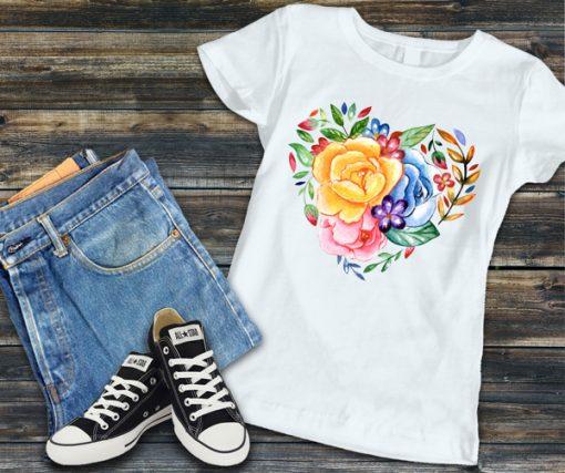 дамска тениска flower heart 2