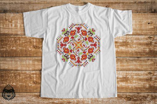 мъжка тениска с печат шевица слънце