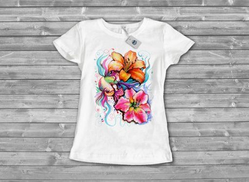 Дамска тениска с печат watercolor fish 2