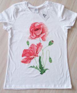 Дамска тениска макове watercolor