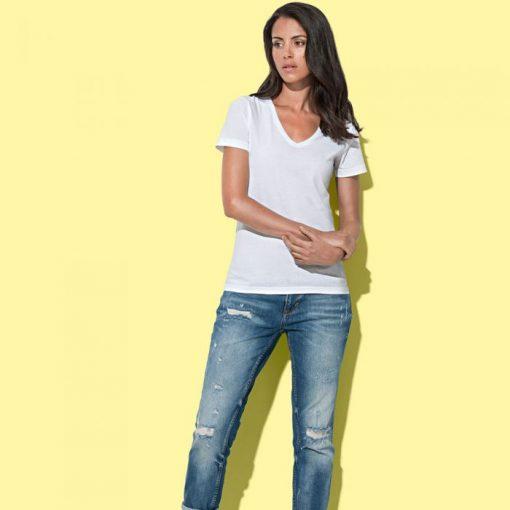дамска тениска с остродеколте v-neck