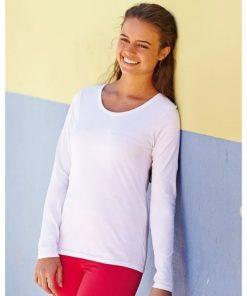 Дамска тениска с дълги ръкави и обло деколте 1