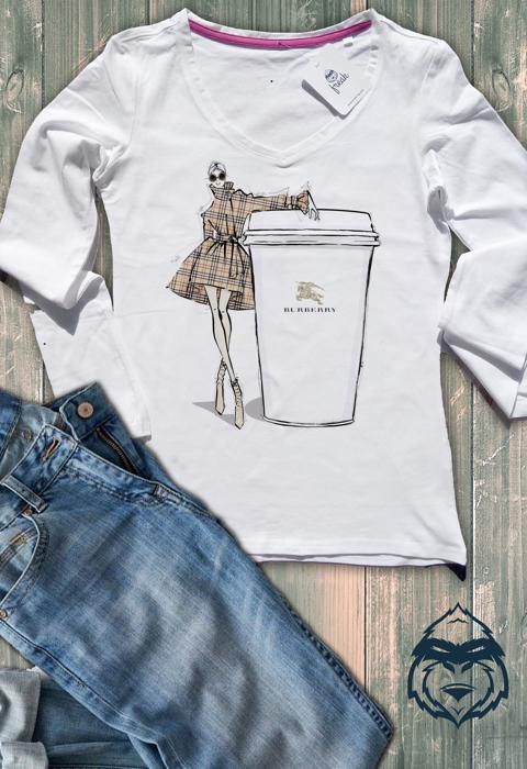 Дамска тениска с дълъг ръкав и остро деколте burrbery