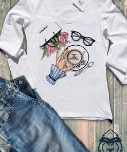 Дамска тениска с дълъг ръкав и остро деколте chanel coffe