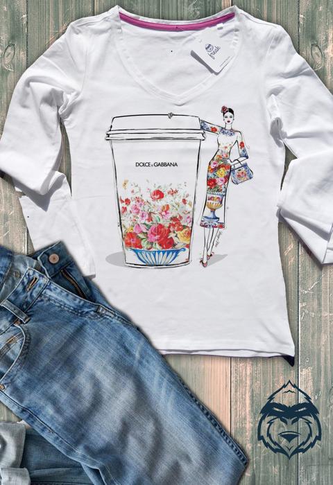 Дамска тениска с дълъг ръкав и остро деколте dolche & gabbana cup
