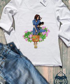 Дамска тениска с дълъг ръкав и остро деколте girl and dog