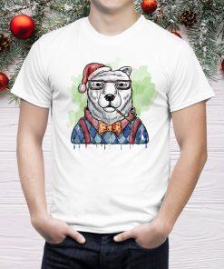 Мъжка тениска с коледна щампа christmas bear