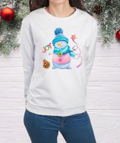 дамска блуза с коледна щампа snowman joy