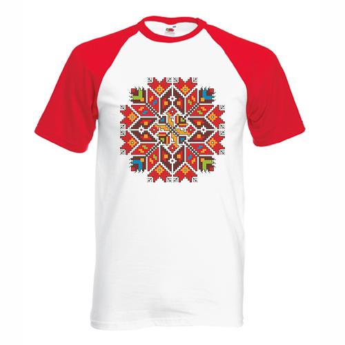 двуцветна мъжка тениска с щампа шевица звезда