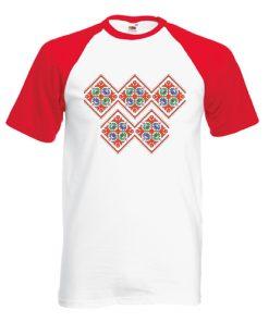 двуцветна мъжка тениска с щампа шевица 3