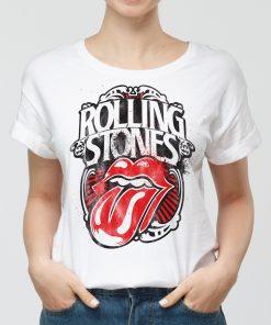 Дамска бяла тениска с щампа rolling stones