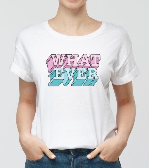 Дамска бяла тениска с щампа what ever