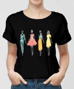 Дамска черна тениска с щампа the four fashion .