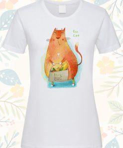 Дамска тениска с щампа Eco cat